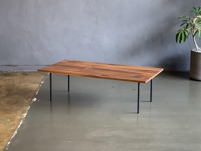 IRON LEG センターテーブル/25mm天板節有り 無垢 アイアン