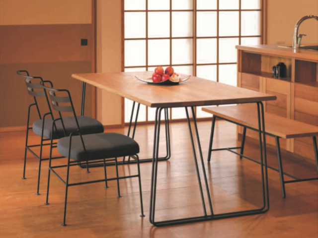 TWIN ダイニングテーブル D800/850 W1500~1800 CoFe 杉山製作所/アイアン