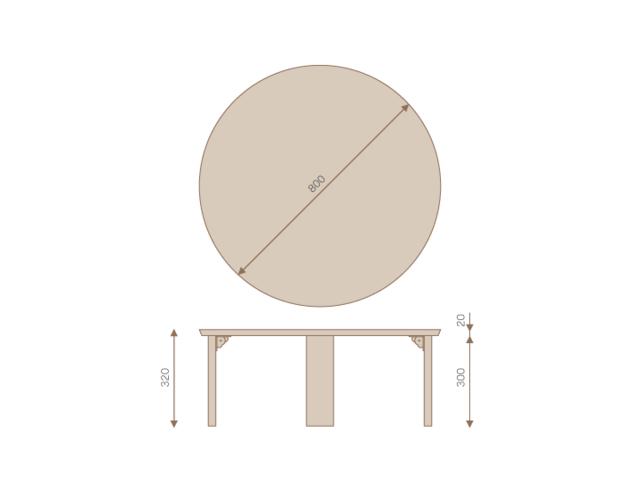 ちゃぶ台 リビングテーブル 円形 800 TEORI テオリ 和 折りたたみ