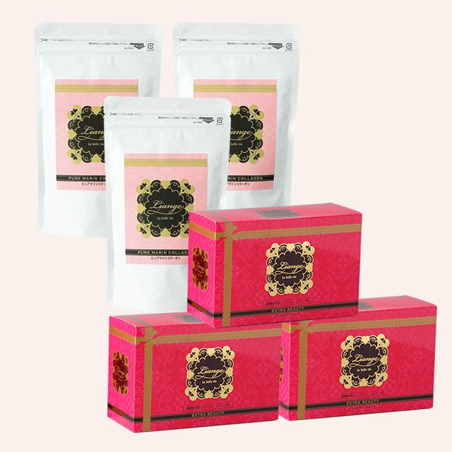 しっかりうるるんセット EXTRA BEAUTY(エクストラビューティー)3箱(30本)+ピュアマリンコラーゲン3袋