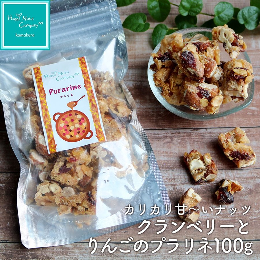 クランベリー りんご プラリネ 100g ナッツ菓子 ナッツ ドライフルーツ ハッピーナッツカンパニー
