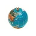 ピカルス天然石地球儀ペーパーウェイト 水色パール