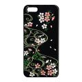 蒔絵iPhone5専用ケース(カバー) スワロフスキー桜に流水紋(黒)