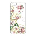 蒔絵iPhone5専用ケース(カバー) スワロフスキー桜に流水紋(白)