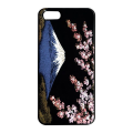 蒔絵iPhone5専用ケース(カバー) 富士に桜(黒)