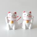 招き猫おみくじ 左右セット(白)