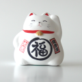 風水貯金箱 招き猫 まる福ねこ(白)