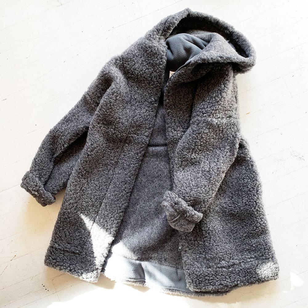 Wool Pile Hooded Coat