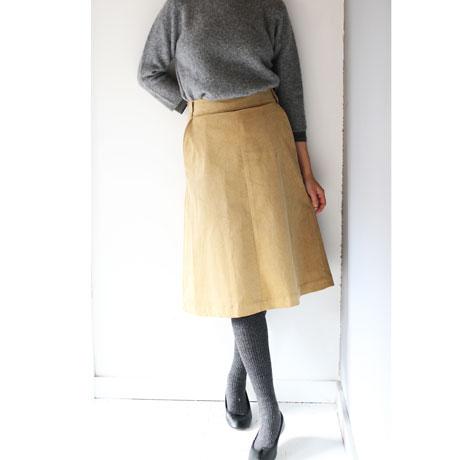 Cotton Corduroy A-Line Skirt