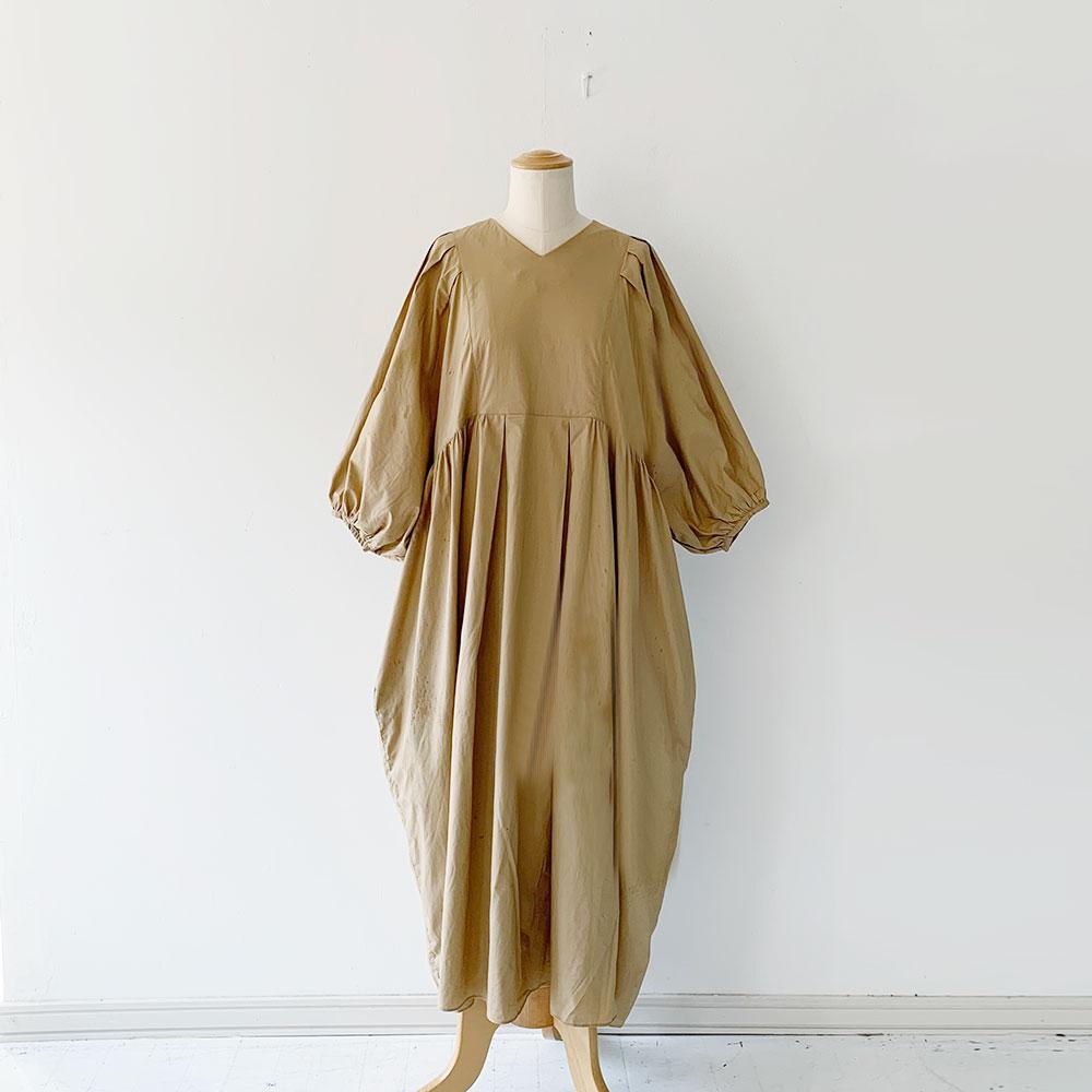 Cotton Silky V-neck Typewriter Gather Dress