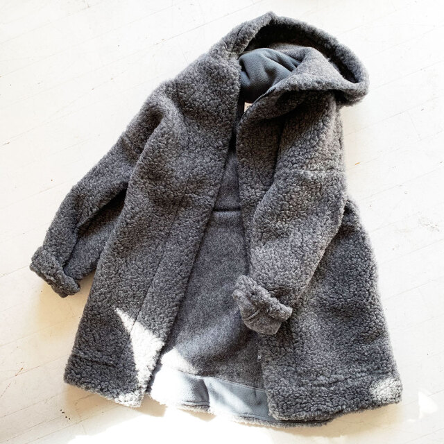 Wool Pile Hooded Coat