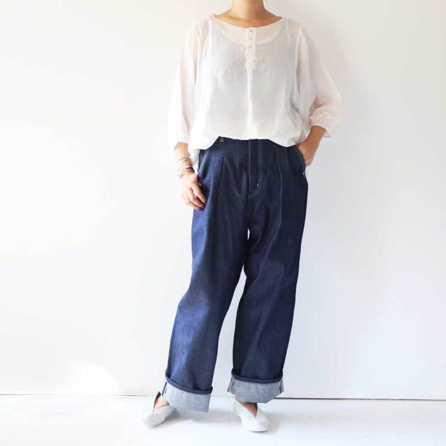 Selvage Denim Wide Tuck Pants