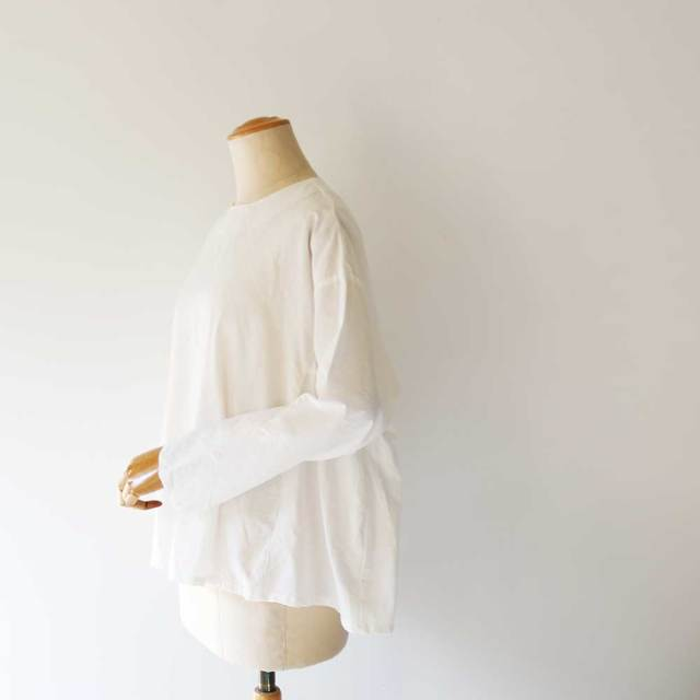 Cotton Linen Tuck Frill Blouse