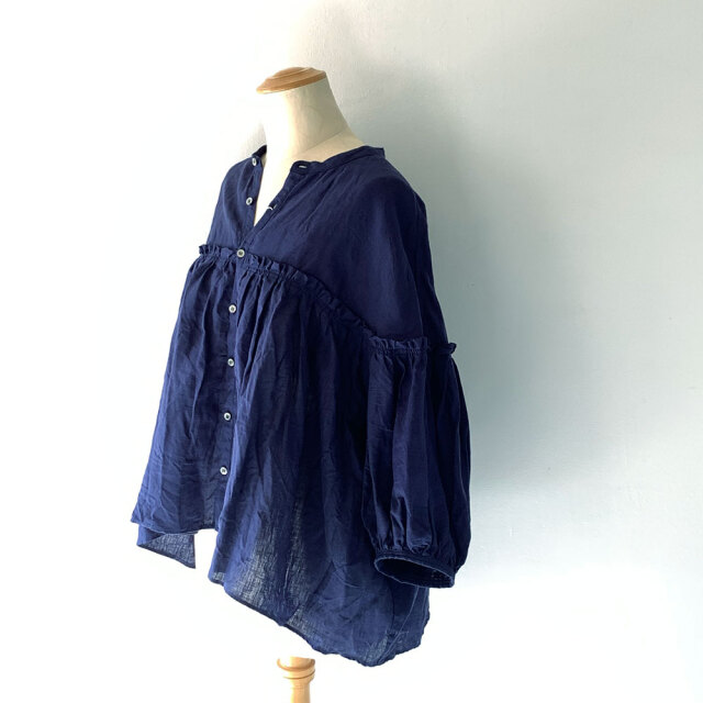 French Linen Band Collar Blouse