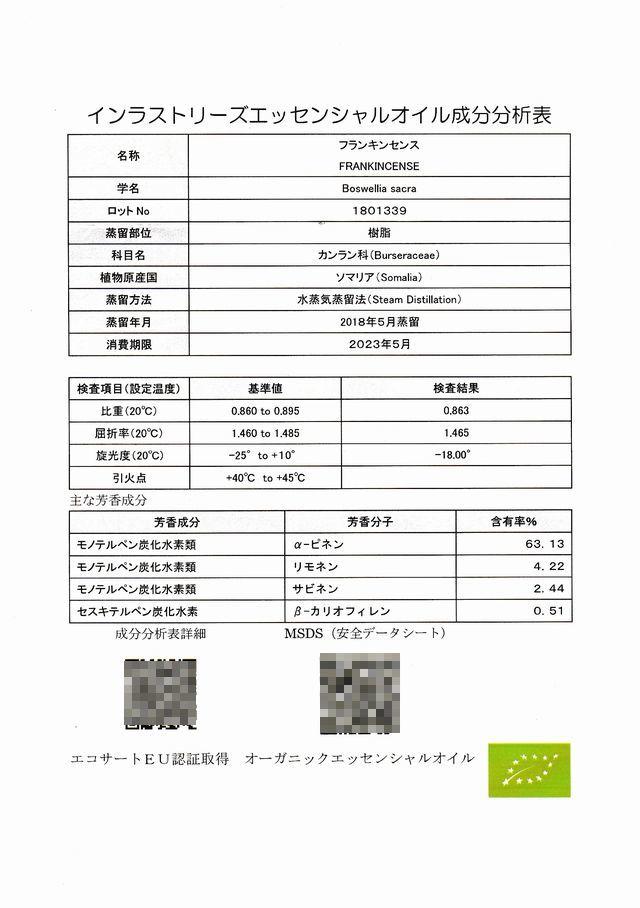 フランキンセンス (Boswellia sacra)成分分析表 メディカルアロマテラピー