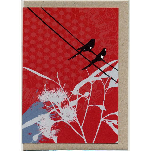 グリーティングカード Red Lorikeet ゴシキセイガイインコ オーストラリア