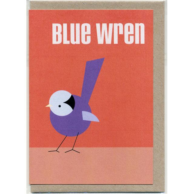 グリーティングカード Blue Wren ルリオーストラリアムシクイ