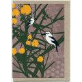 グリーティングカード ワライカワセミ/ワトルの花 オーストラリア