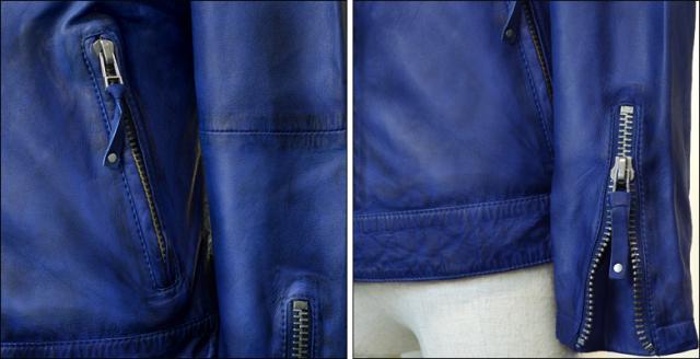 レザージャケット シングル kp005nblu3