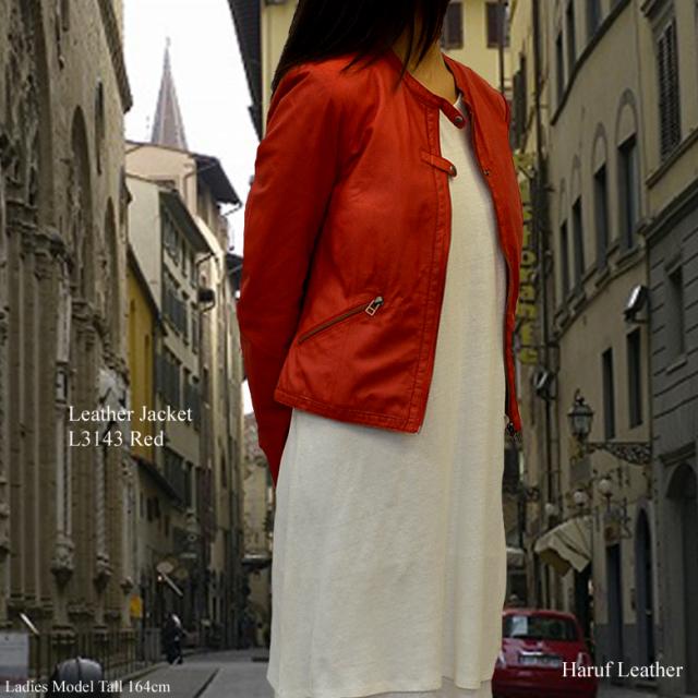 ライダースジャケット レディース l3143model-2