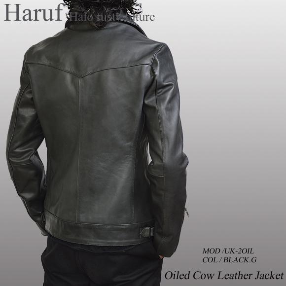 レザージャケット ブラックグレー uk2oilbkgmod2n