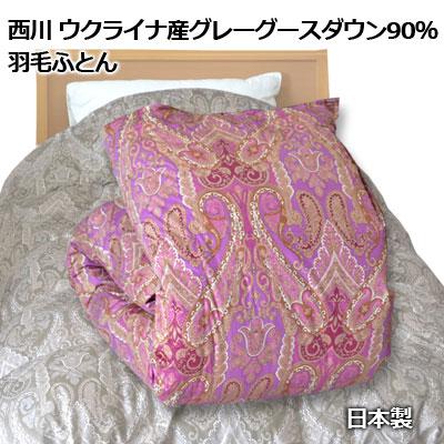 西川 羽毛ふとん シングル ウクライナ産グレーグースダウン90% 150×210cm 日本製 抗菌加工