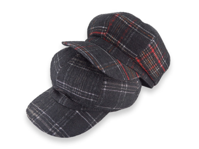 Wool check casquette2 / ウール地チェック柄キャスケット / Made in tokyo