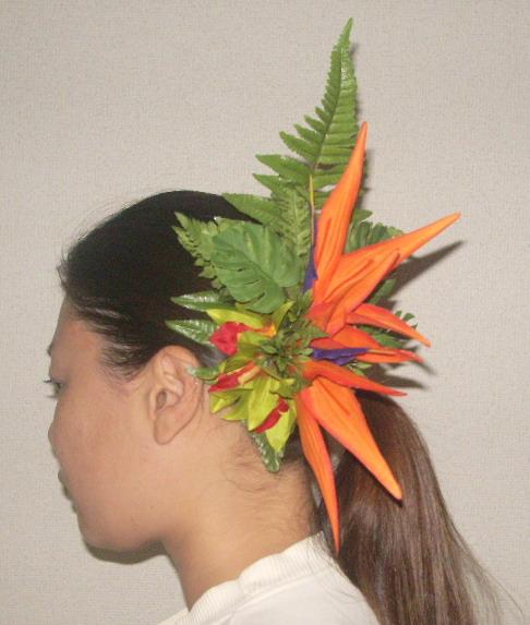 オリジナル 極楽鳥とオーキットの髪飾り(タヒチアン調)