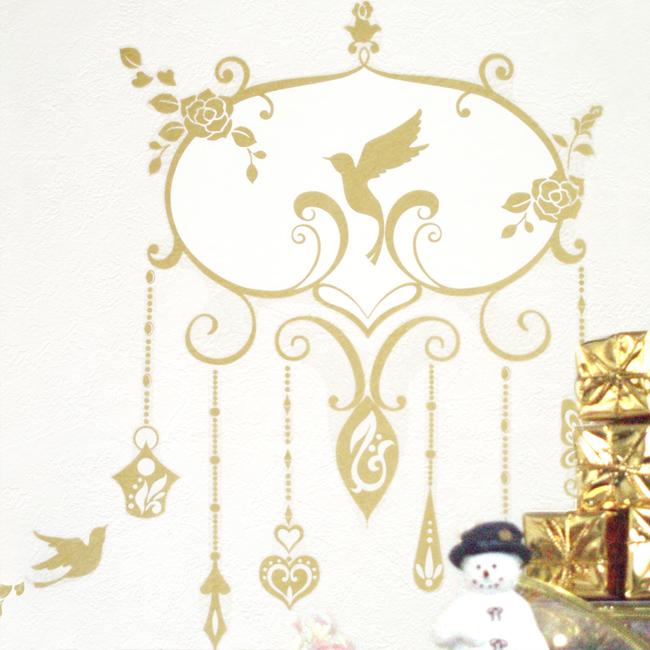 【きらきらバラのシャンデリア】貼ってはがせるウォールステッカー【ゆうパケット対応・A4サイズ2枚組】日本製・シルクスクリーン印刷