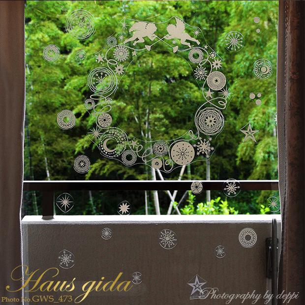 大きなガラス専用ステッカー 金ラメ・輪飾りと天使  A2サイズ】+【ガラス専用クリスマス雪だるま A4サイズ】すうーっと貼ってはがせて再利用できる 日本製 シルクスクリーン印刷 ガラスに貼るとキレイ
