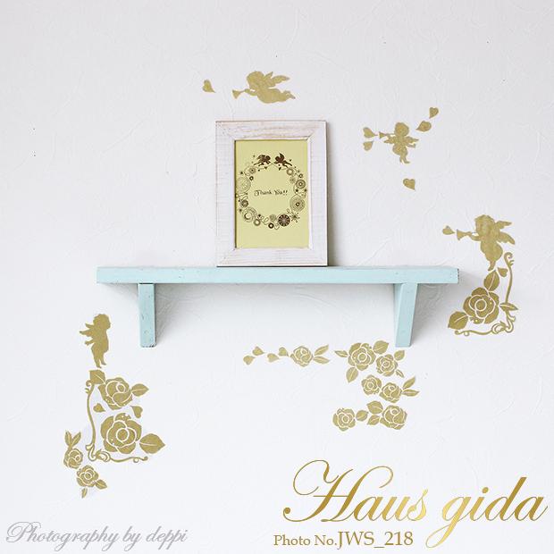 【きらきらバラと天使】貼ってはがせるウォールステッカー【ゆうパケット対応・A4サイズ】日本製・シルクスクリーン印刷【金色+グリッター印刷で繊細にきらきらします 】