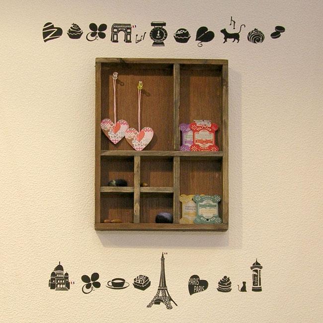 【パリの小物たち】貼ってはがせるウォールステッカー【ゆうパケット対応・A4サイズ】日本製・シルクスクリーン印刷・ふちのないアプリケーションタイプ