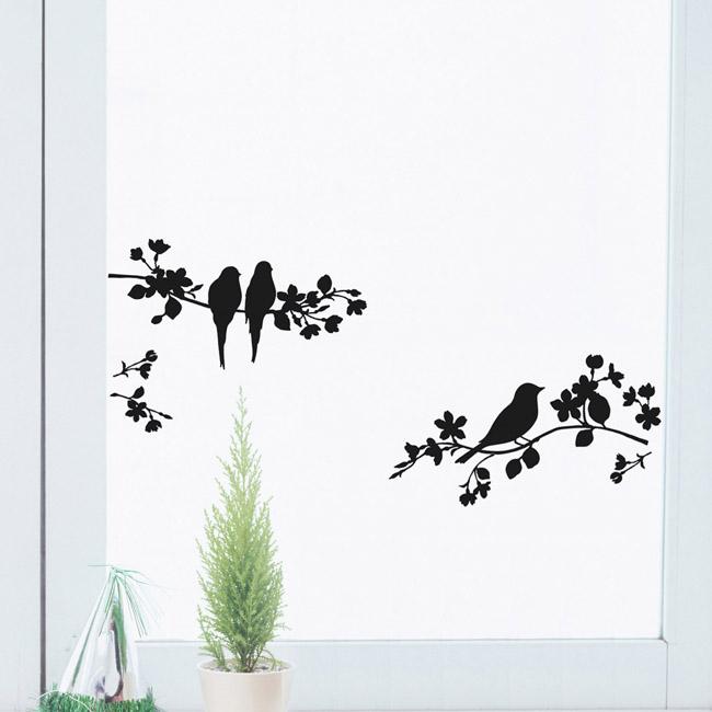 【森の中のことり(黒)】貼ってはがせるウォールステッカー【ゆうパケット対応・A4サイズ】日本製・シルクスクリーン印刷