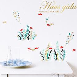 【金魚アクアリウム】ウォールステッカーで楽しむ和の行事【ゆうパケット対応・A4サイズ】美しいシルクスクリーン印刷