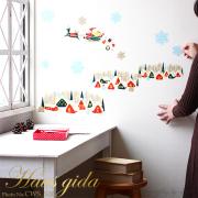 【大きな雪の結晶とクリスマス(A2)】ウォールステッカーで楽しむ切り絵作家CHIKUの世界【A2サイズ】