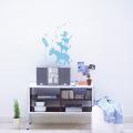 【ブレーメンの音楽隊(ブルー)】【ゆうパケット対応】貼ってはがせるウォールステッカー・日本製・シルクスクリーン印刷