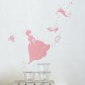 【シンデレラ(ピンク)】【ゆうパケット対応】貼ってはがせるウォールステッカー・日本製・シルクスクリーン印刷