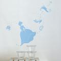 【シンデレラ(ブルー)】【ゆうパケット対応】貼ってはがせるウォールステッカー・日本製・シルクスクリーン印刷