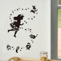 【ふしぎの国のアリス (黒)】【ゆうパケット対応】貼ってはがせるウォールステッカー・日本製・シルクスクリーン印刷
