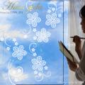 【ガラス専用 大きなフラワー  A2サイズ】【ガラス専用雪だるま付き】すうーっと貼ってはがせて再利用できる 日本製 ふちが透き通っていて、ガラスに貼るとキレイ