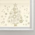 【大きなガラス専用ステッカー 金ラメ・クリスマスツリー  A2サイズ】+【ガラス専用クリスマス雪だるま A4サイズ】すうーっと貼ってはがせて再利用できる 日本製 シルクスクリーン印刷 ガラスに貼るとキレイ