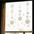 【大きなガラス専用ステッカー 金ラメ・雪の結晶  A2サイズ】+【ガラス専用クリスマス雪だるま A4サイズ】すうーっと貼ってはがせて再利用できる 日本製 シルクスクリーン印刷 ガラスに貼るとキレイ