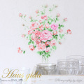 【ブライダルピンクのバラのブーケ】貼ってはがせる ウォールステッカー 池端禎三の描くバラシリーズ【ゆうパケット対応・A4サイズ】日本製