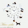 【送料無料】【HP限定セット】時計といぬの休日【壁に貼れる時計と選べるステッカーとのセット】