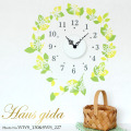 【送料無料】【HP限定セット】時計と北欧グリーン&スノー【壁に貼れる時計と選べるステッカーとのセット】