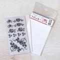 【メール便対応】【アイロンで布に転写できる】フロッキー転写シート ばら(黒)