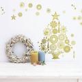 【きらきらクリスマスツリー】貼ってはがせるウォールステッカー【ゆうパケット対応・A4サイズ】日本製・シルクスクリーン印刷【金色+グリッター印刷で繊細にきらきらします 】