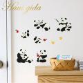 【しあわせパンダ】貼ってはがせるウォールステッカー【ゆうパケット対応・A4サイズ】日本製・シルクスクリーン印刷