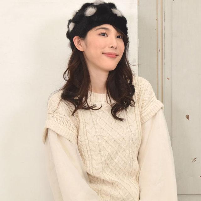 ミンク帽子ミンクキャップミンク編みこみベレー帽(PF32155)