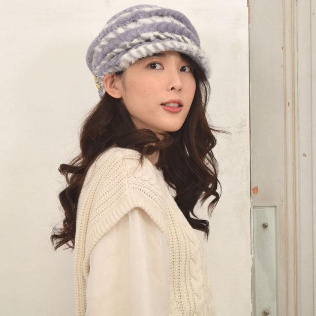 ミンク帽子ミンクキャップ編みこみキャスケット(PF32179)